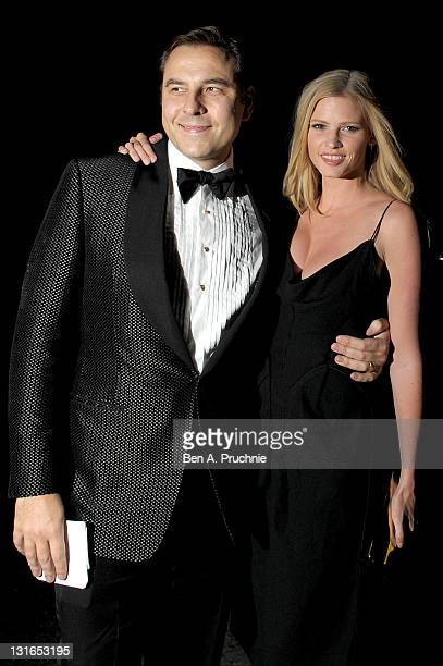 David Walliams and Lara Stone attend a special night dedicated to The Elton John AIDS Foundation's newly created Elizabeth Taylor Memorial Fund at...