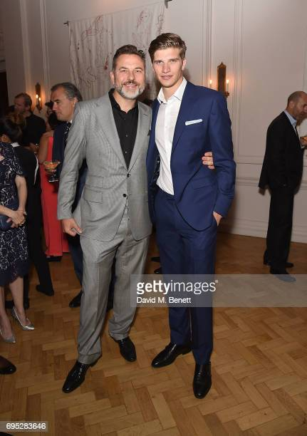 David Walliams and Toby HuntingtonWhiteley attend the London Fashion Week Men's closing dinner hosted by GQ at The Ned on June 12 2017 in London...