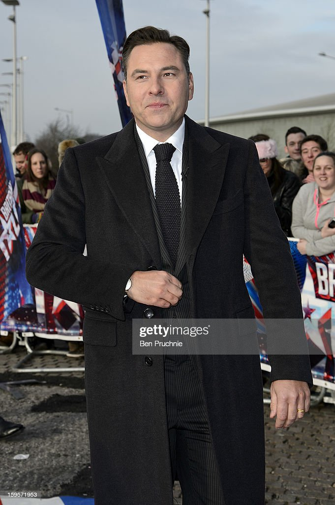 <a gi-track='captionPersonalityLinkClicked' href=/galleries/search?phrase=David+Walliams&family=editorial&specificpeople=203020 ng-click='$event.stopPropagation()'>David Walliams</a> arrives for the 1st day of judges auditions for 'Britain's Got Talent' at Millenium Centre on January 16, 2013 in Cardiff, Wales.