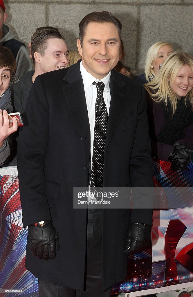 <a gi-track='captionPersonalityLinkClicked' href=/galleries/search?phrase=David+Walliams&family=editorial&specificpeople=203020 ng-click='$event.stopPropagation()'>David Walliams</a> arrives for the Birmingham auditions of Britain's Got Talent at The ICC on February 8, 2013 in Birmingham, England.