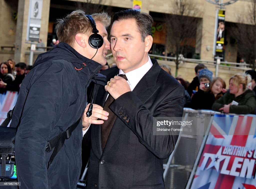 <a gi-track='captionPersonalityLinkClicked' href=/galleries/search?phrase=David+Walliams&family=editorial&specificpeople=203020 ng-click='$event.stopPropagation()'>David Walliams</a> attends the Manchester auditions for Britain's Got Talent at The Lowry on February 7, 2014 in Manchester, England.