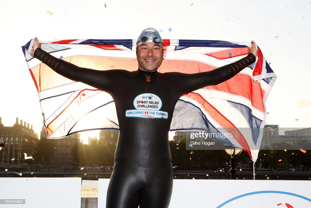 <a gi-track='captionPersonalityLinkClicked' href=/galleries/search?phrase=David+Walliams&family=editorial&specificpeople=203020 ng-click='$event.stopPropagation()'>David Walliams</a> completes his attempt to swim the length of the Thames for sport relief on September 12, 2011 in London, United Kingdom. Walliams started his attempt as close to the Thames source as possible in Lechlade, Gloucestershire and swam about 140 miles to finish at Big Ben in the heart of London in just eight days.