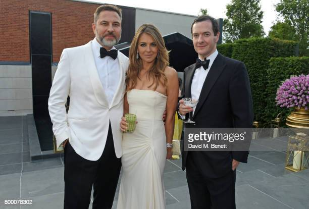 David Walliams Elizabeth Hurley and George Osborne attend the Woodside Gallery Dinner in benefit of Elton John AIDS Foundation in partnership with...