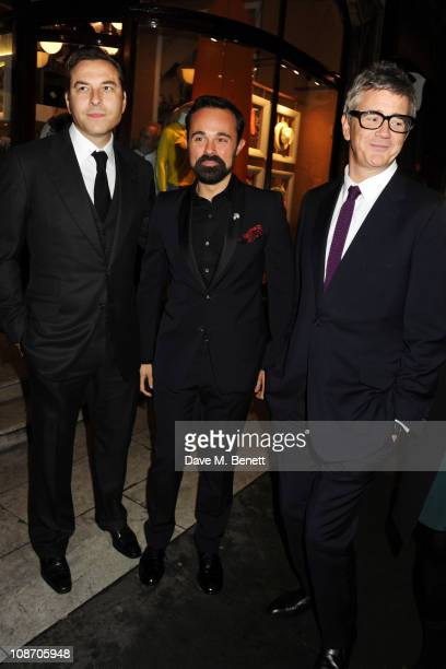David Walliams Evgeny Lebedev and Jay Jopling attend the Chucs Dive Mountain Shop Launch Party at Automat on February 1 2011 in London England