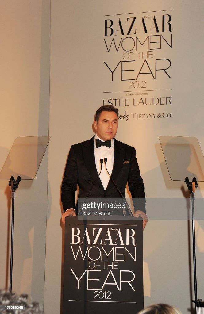 (MANDATORY CREDIT PHOTO BY DAVE M BENETT/GETTY IMAGES REQUIRED) <a gi-track='captionPersonalityLinkClicked' href=/galleries/search?phrase=David+Walliams+-+Com%C3%A9dien&family=editorial&specificpeople=203020 ng-click='$event.stopPropagation()'>David Walliams</a> hosts the Harper's Bazaar Women of the Year Awards 2012, in association with Estee Lauder, Harrods and Tiffany & Co., at Claridge's Hotel on October 31, 2012 in London, England.
