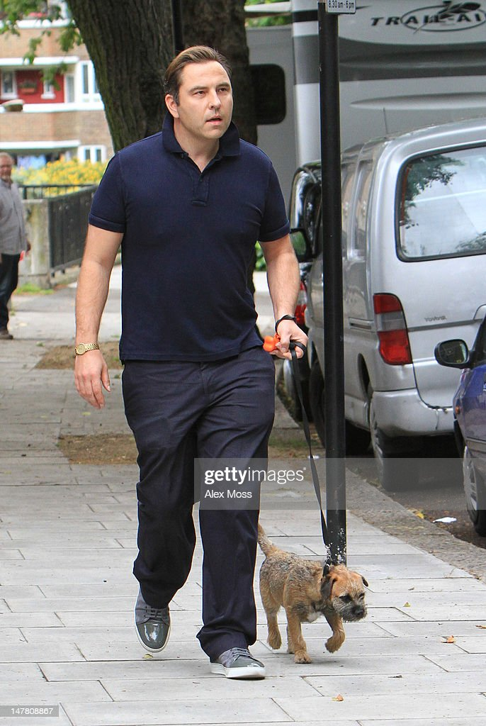 David Walliams is sighted in Primrose Hill where his wife Lara Stone was participating in a photoshoot on July 3, 2012 in London, England.