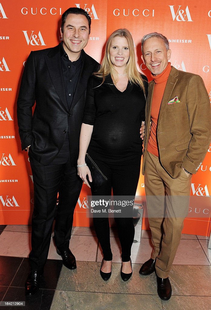 (L to R) David Walliams, Lara Stone and Patrick Cox attend the dinner to celebrate The David Bowie Is exhibition in partnership with Gucci and Sennheiser at the Victoria and Albert Museum on March 19, 2013 in London, England.