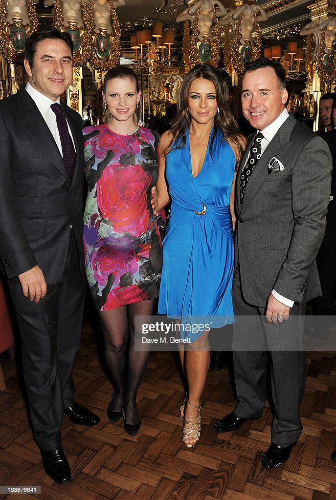 David Walliams, Lara Stone, Elizabeth Hurley and David Furnish attend a drinks reception celebrating Patrick Cox's 50th Birthday party at Cafe Royal on March 15, 2013 in London, England.