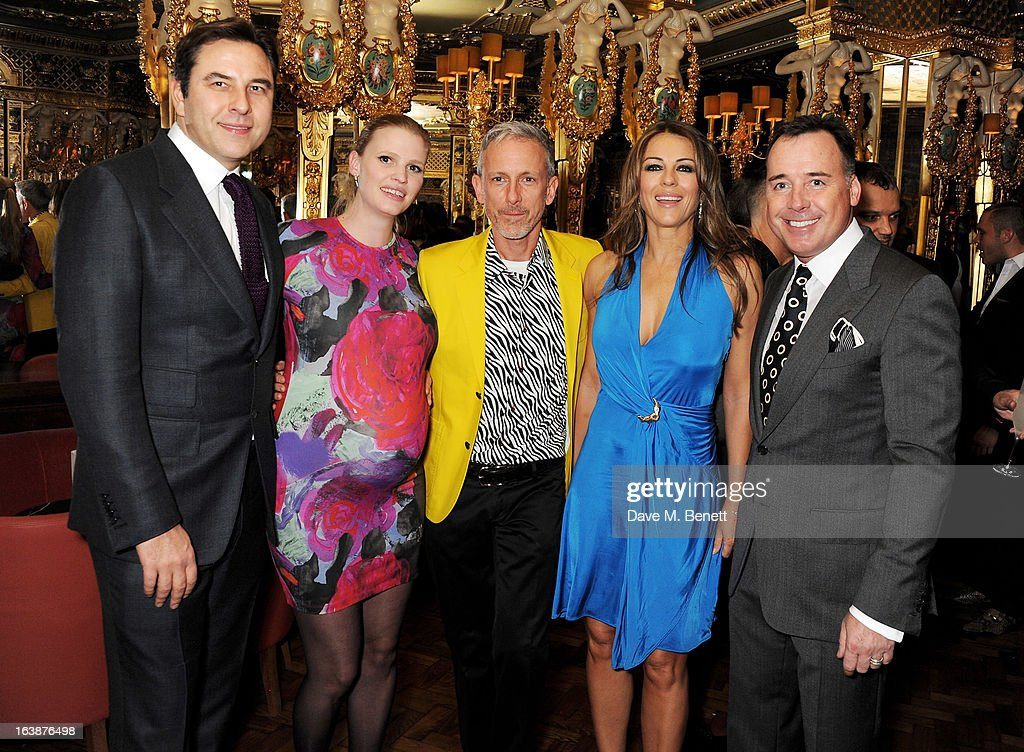 David Walliams, Lara Stone, Patrick Cox, Elizabeth Hurley and David Furnish attend a drinks reception celebrating Patrick Cox's 50th Birthday party at Cafe Royal on March 15, 2013 in London, England.