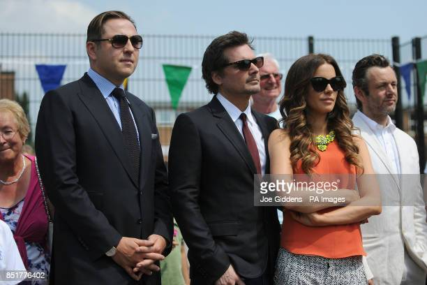 David Walliams Len Wiseman Kate Beckinsale and Michael Sheen during a visit to College House Junior School where the Holyywood actress unveiled a...