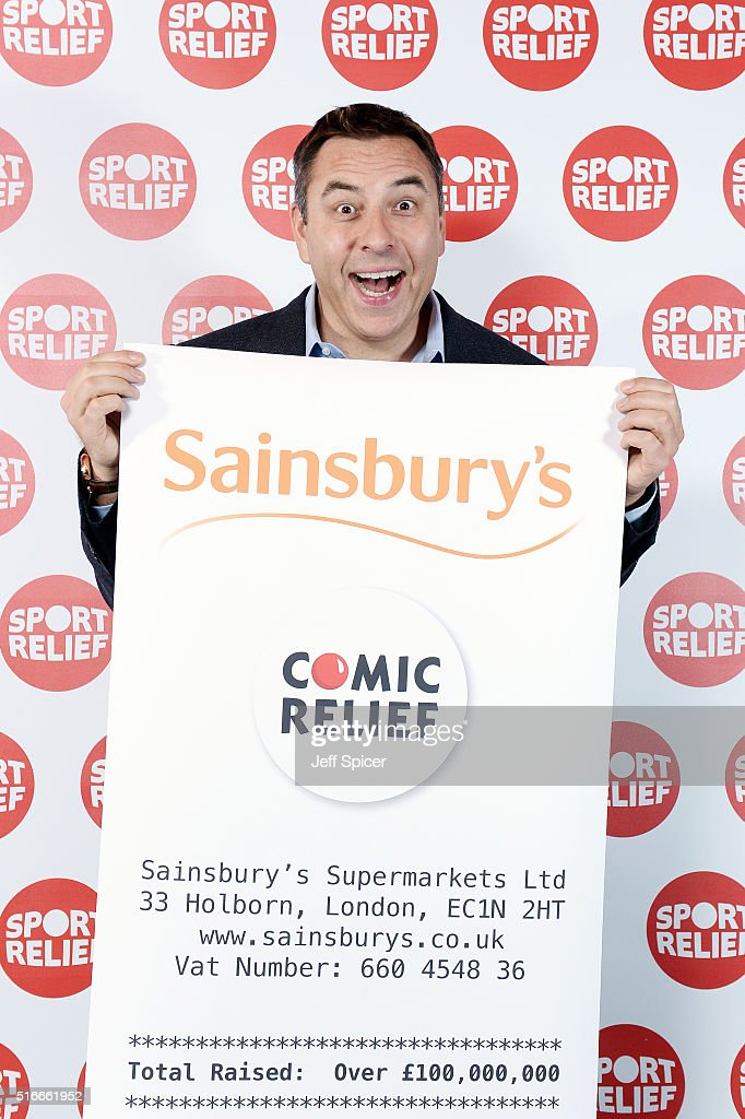 <a gi-track='captionPersonalityLinkClicked' href=/galleries/search?phrase=David+Walliams&family=editorial&specificpeople=203020 ng-click='$event.stopPropagation()'>David Walliams</a> poses holding a giant Sainsbury's receipt to mark Sainsbury's raising over £100 million in donations for Sport Relief and Comic Relief since the partnership began in 1999 at the Copperbox Arena on March 18, 2016 in London.