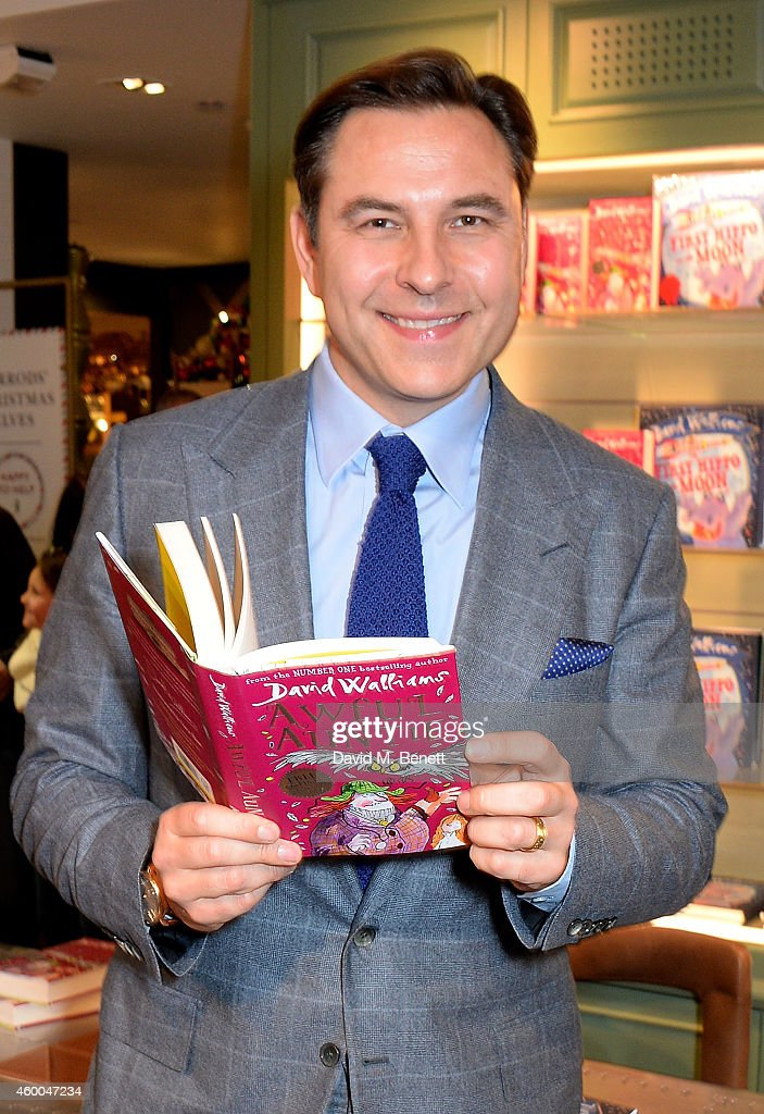 <a gi-track='captionPersonalityLinkClicked' href=/galleries/search?phrase=David+Walliams&family=editorial&specificpeople=203020 ng-click='$event.stopPropagation()'>David Walliams</a> signs new children's book 'Awful Auntie' and his new picture book, 'The First Hippo on the Moon' at Harrods on December 6, 2014 in London, England.