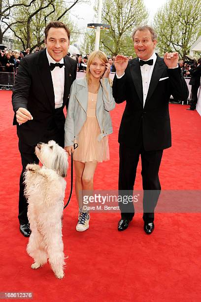 David Walliams Tayla Butler and Hugh Bonneville with dog Pudsey attend the Arqiva British Academy Television Awards 2013 at the Royal Festival Hall...