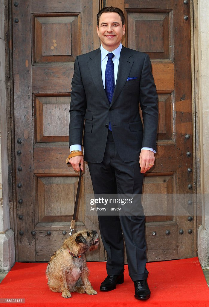 <a gi-track='captionPersonalityLinkClicked' href=/galleries/search?phrase=David+Walliams&family=editorial&specificpeople=203020 ng-click='$event.stopPropagation()'>David Walliams</a> with his dog Bert attends a photocall for 'Britain's Got Talent' at St Luke's Church on April 9, 2014 in London, England.