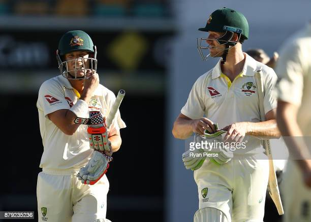 David Warner and Cameron Bancroft of Australia look on during day four of the First Test Match of the 2017/18 Ashes Series between Australia and...