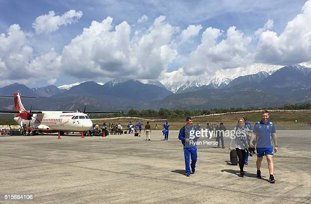 David Warner and Peter Nevill of Australia arrive at Dharamsala Airport ahead of the ICC 2016 Twenty20 World Cup on March 15 2016 in Dharamsala India