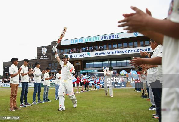 David Warner and Shaun Marsh of Australia walk out to bat during day one of the Tour Match between Derbyshire and Australia at The 3aaa County Ground...