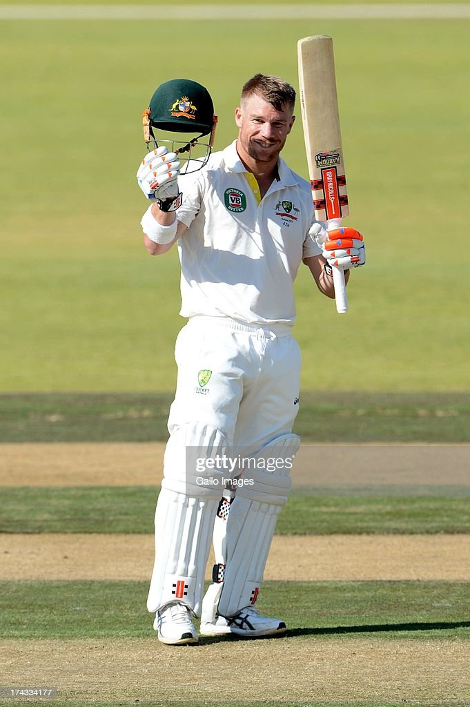 David Warner Australia A celebrates his 100 runs during day 1 of the 1st Test match between South Africa A and Australia A at Tuks Oval on July 24, 2013 in Pretoria, South Africa.