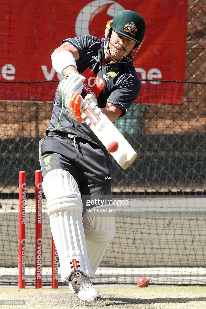 David Warner bats during an Australian training session at Adelaide Oval on November 21, 2012 in Adelaide, Australia.