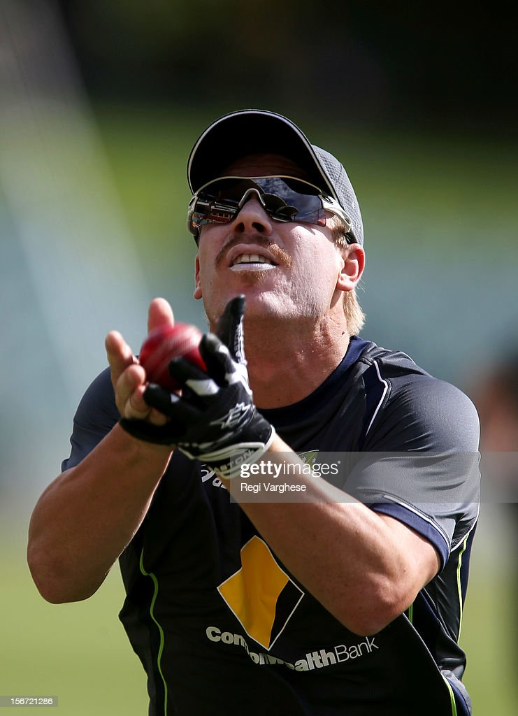 David Warner catches the ball during an Australian training session at Adelaide Oval on November 20, 2012 in Adelaide, Australia.