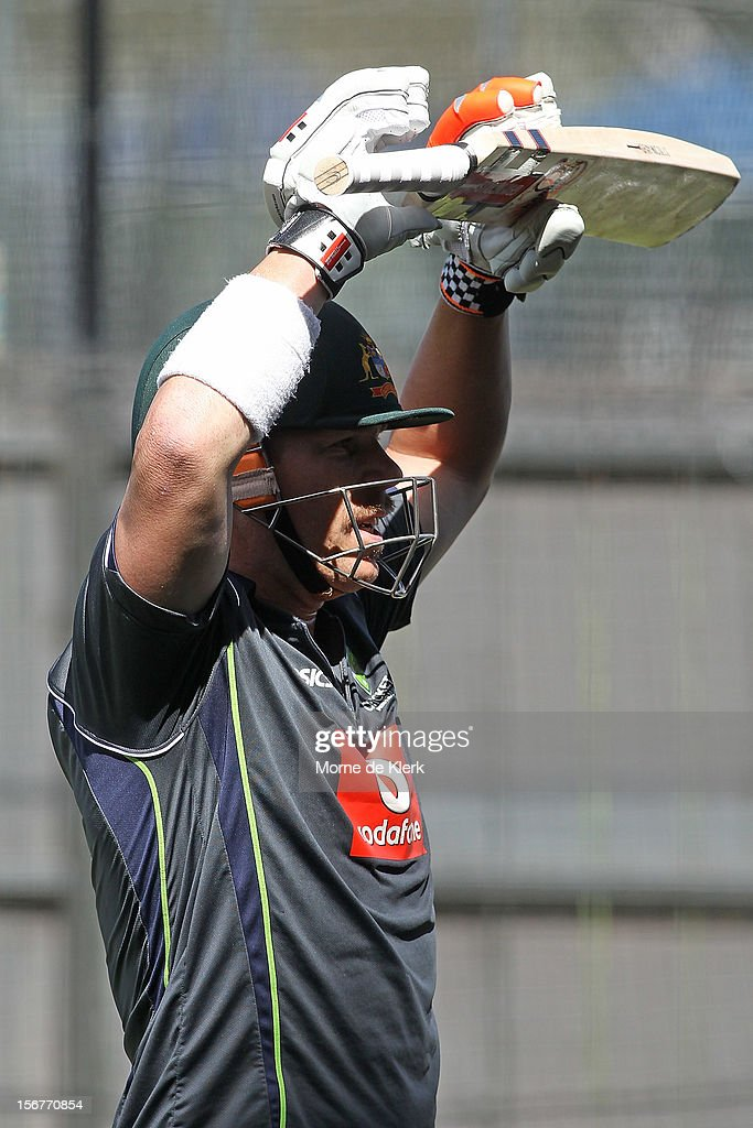 David Warner during an Australian training session at Adelaide Oval on November 21, 2012 in Adelaide, Australia.