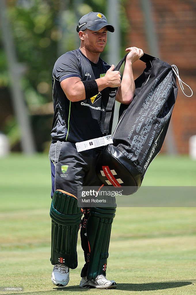 David Warner leaves the nets during an Australian training session at The Gabba on January 17, 2013 in Brisbane, Australia.