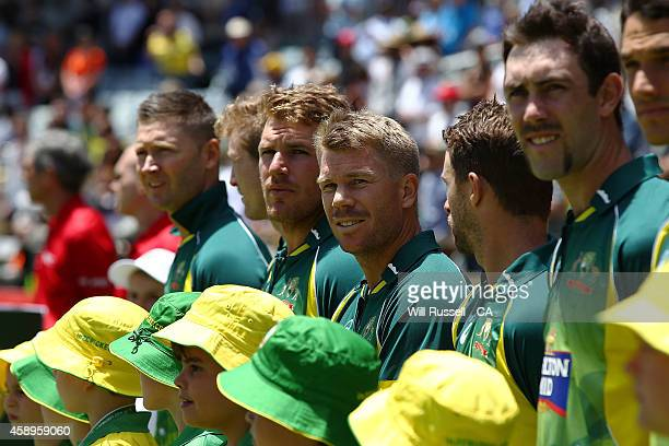 David Warner looks on during the National Anthem during game one of the men's one day international series between Australia and South Africa at WACA...
