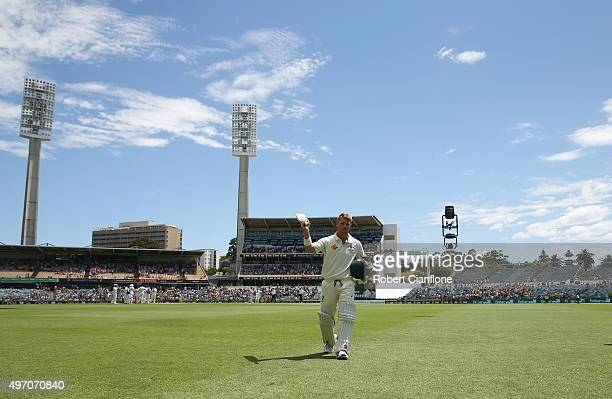 David Warner of Australia acknowledges the crowd after he was dismissed during day two of the second Test match between Australia and New Zealand at...