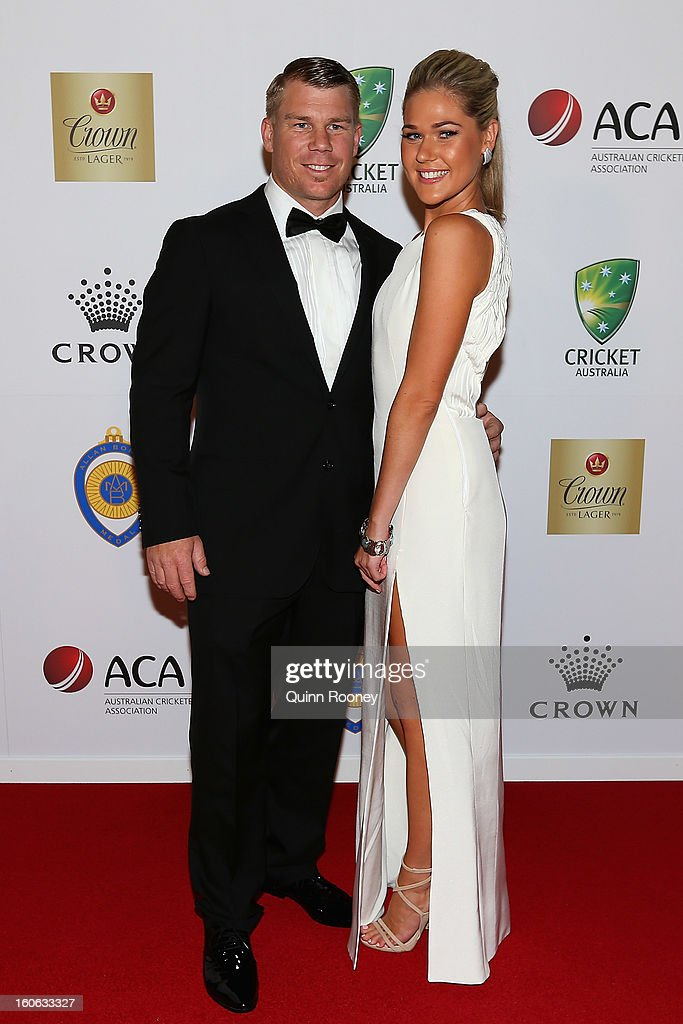 David Warner of Australia and his partner Samantha Williams arrive at the 2013 Allan Border Medal awards ceremony at Crown Palladium on February 4, 2013 in Melbourne, Australia.