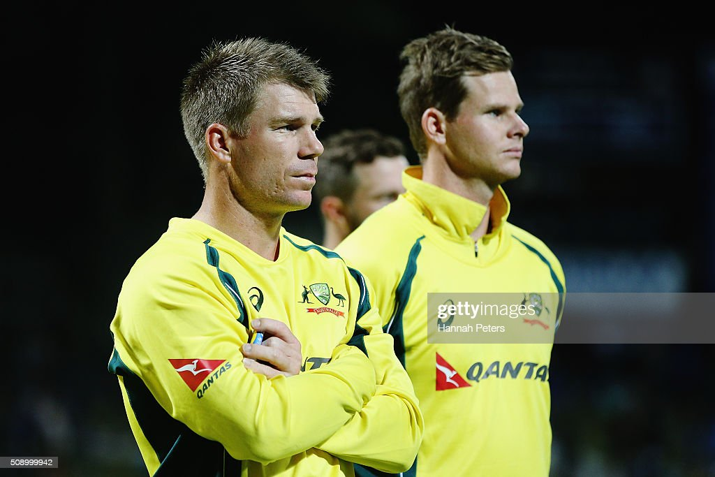 <a gi-track='captionPersonalityLinkClicked' href=/galleries/search?phrase=David+Warner+-+Cricketer&family=editorial&specificpeople=4262255 ng-click='$event.stopPropagation()'>David Warner</a> of Australia and Steve Smith of Australia look on after losing the 3rd One Day International cricket match between the New Zealand Black Caps and Australia at Seddon Park on February 8, 2016 in Hamilton, New Zealand.