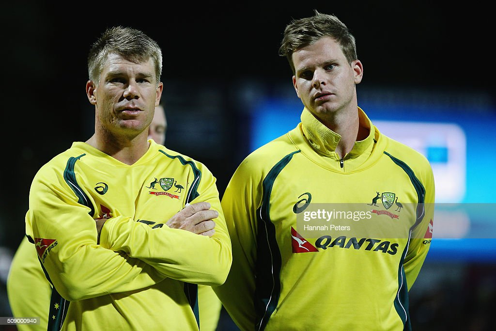 <a gi-track='captionPersonalityLinkClicked' href=/galleries/search?phrase=David+Warner+-+Cricket+Player&family=editorial&specificpeople=4262255 ng-click='$event.stopPropagation()'>David Warner</a> of Australia and Steve Smith of Australia look on after losing the 3rd One Day International cricket match between the New Zealand Black Caps and Australia at Seddon Park on February 8, 2016 in Hamilton, New Zealand.