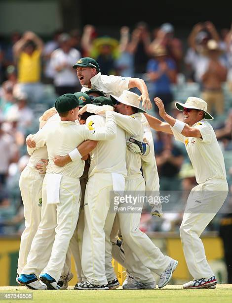 David Warner of Australia and the Australian team celebrate victory during day five of the Third Ashes Test Match between Australia and England at...