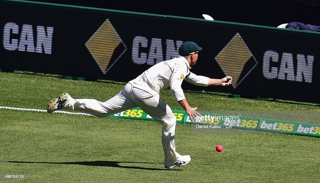 <a gi-track='captionPersonalityLinkClicked' href=/galleries/search?phrase=David+Warner+-+Cricket+Player&family=editorial&specificpeople=4262255 ng-click='$event.stopPropagation()'>David Warner</a> of Australia attempts a catch during day three of the Third Test match between Australia and New Zealand at Adelaide Oval on November 29, 2015 in Adelaide, Australia.