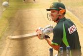 David Warner of Australia bats during a nets session ahead of the ICC World Twenty20 Bangladesh 2014 at ShereBangla Mirpur Stadium on March 22 2014...