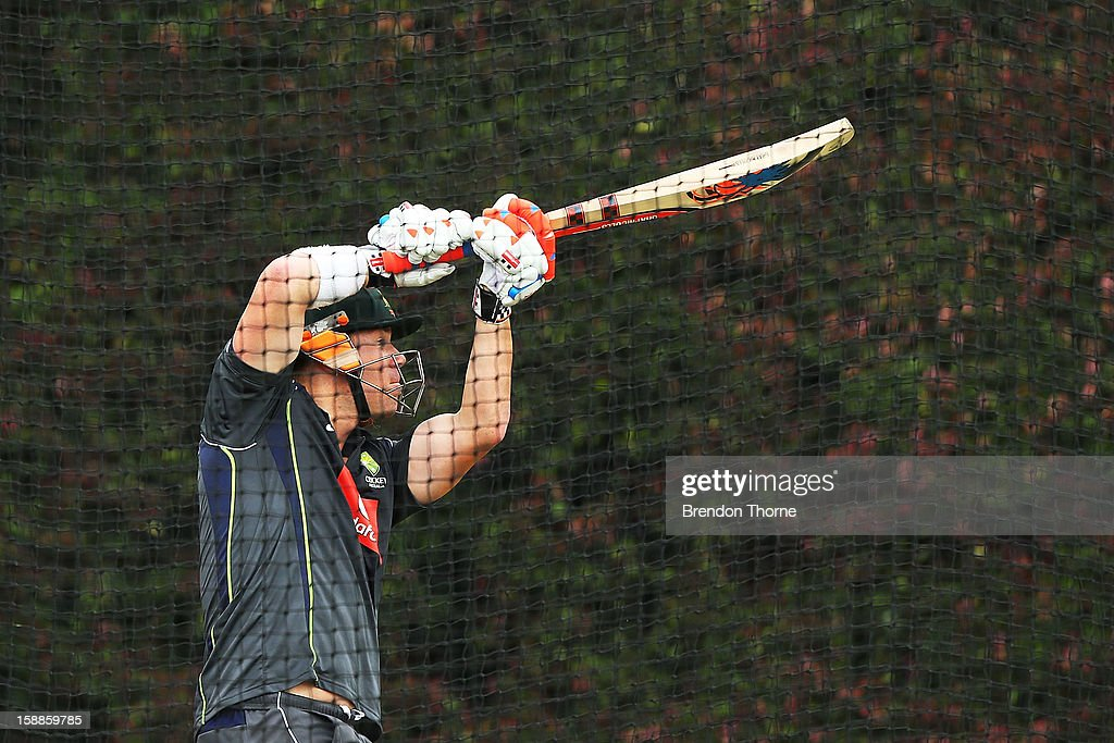 David Warner of Australia bats during an Australian nets session at Sydney Cricket Ground on January 2, 2013 in Sydney, Australia.