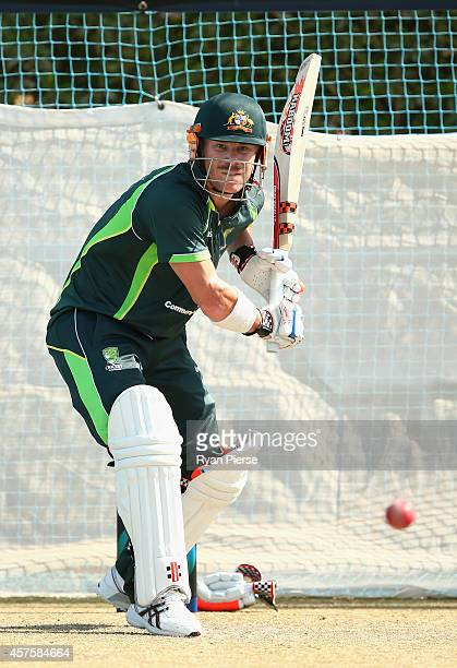 David Warner of Australia bats during an Australian Nets Session at the ICC Academy on October 21 2014 in Dubai United Arab Emirates