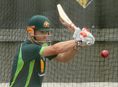 David Warner of Australia bats during an Australian nets session at Melbourne Cricket Ground on December 24 2014 in Melbourne Australia