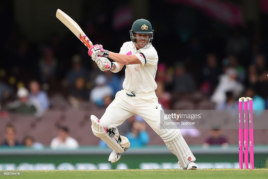 David Warner of Australia bats during day five of the third Test match between Australia and the West Indies at Sydney Cricket Ground on January 7...