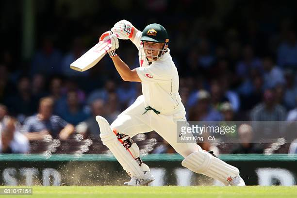 David Warner of Australia bats during day four of the Third Test match between Australia and Pakistan at Sydney Cricket Ground on January 6 2017 in...