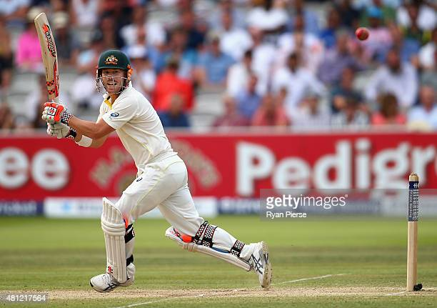 David Warner of Australia bats during day three of the 2nd Investec Ashes Test match between England and Australia at Lord's Cricket Ground on July...