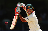 David Warner of Australia bats during day three of the Second Test match between Australia and the West Indies at Sabina Park on June 13 2015 in...
