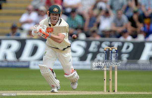 David Warner of Australia bats during day two of the 1st Investec Ashes Test match between England and Australia at SWALEC Stadium on July 9 2015 in...