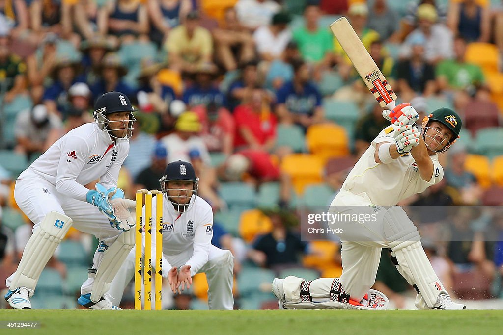 David Warner of Australia bats during day two of the First Ashes Test match between Australia and England at The Gabba on November 22, 2013 in Brisbane, Australia.