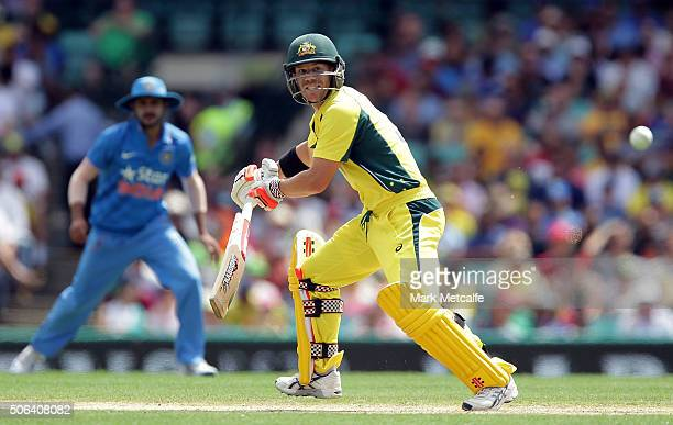 David Warner of Australia bats during game five of the Commonwealth Bank One Day Series match between Australia and India at Sydney Cricket Ground on...