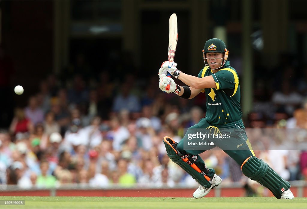 David Warner of Australia bats during game four of the Commonwealth Bank one day international series between Australia and Sri Lanka at Sydney...