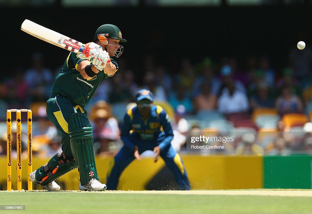 David Warner of Australia bats during game three of the Commonwealth Bank One Day International Series between Australia and Sri Lanka at The Gabba on January 18, 2013 in Brisbane, Australia.