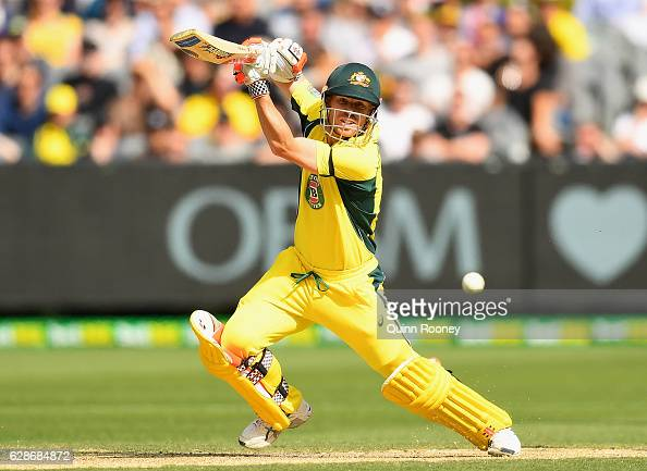 David Warner of Australia bats during game three of the One Day International series between Australia and New Zealand at Melbourne Cricket Ground on...