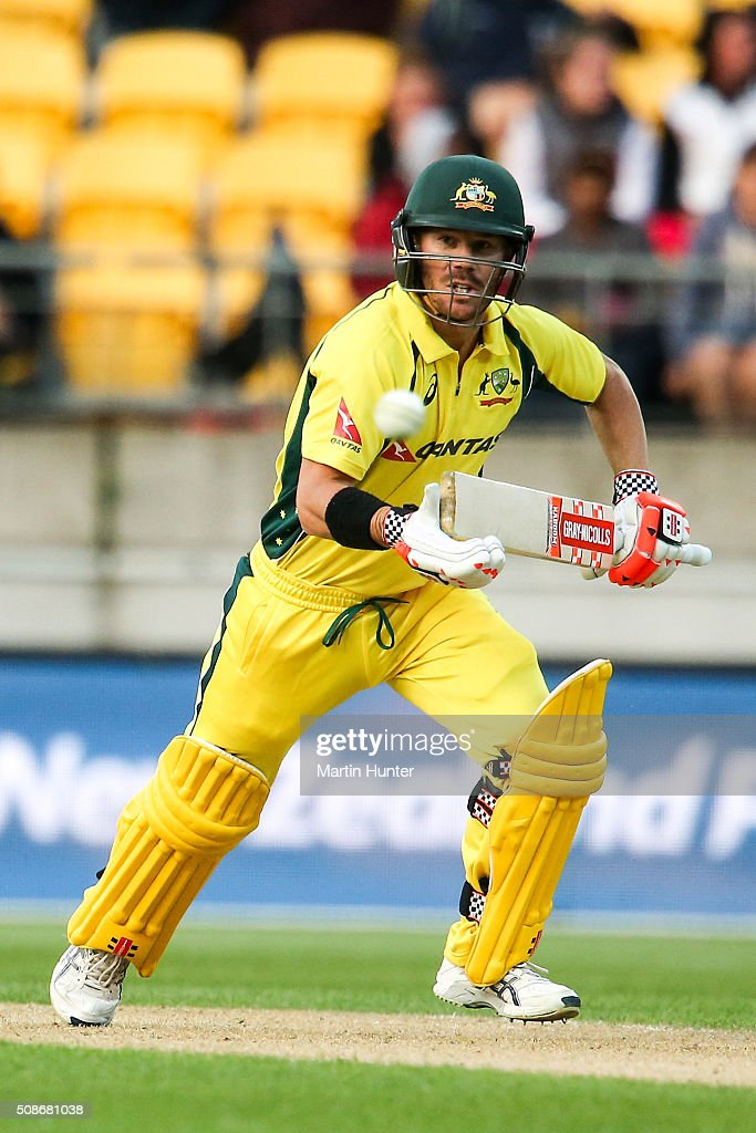 <a gi-track='captionPersonalityLinkClicked' href=/galleries/search?phrase=David+Warner+-+Cricket+Player&family=editorial&specificpeople=4262255 ng-click='$event.stopPropagation()'>David Warner</a> of Australia bats during game two of the one day international series between New Zealand and Australia at Westpac Stadium on February 6, 2016 in Wellington, New Zealand.