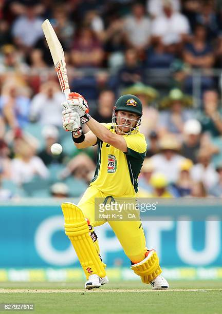 David Warner of Australia bats during game two of the One Day International series between Australia and New Zealand at Manuka Oval on December 6...