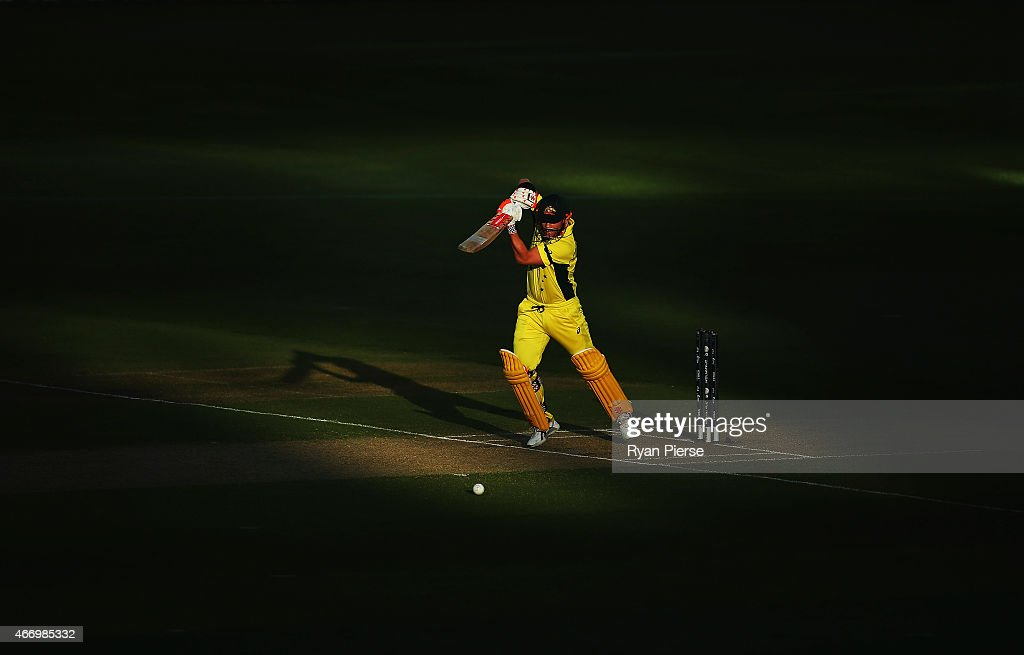 David Warner of Australia bats during the 2015 ICC Cricket World Cup match between Australian and Pakistan at Adelaide Oval on March 20 2015 in...